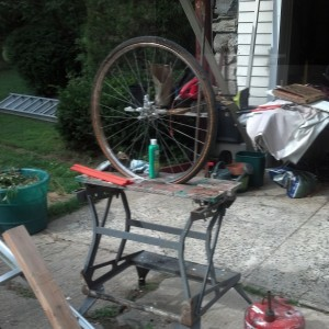 this is not a Duchamp knock-off... a bike refurbishing moment