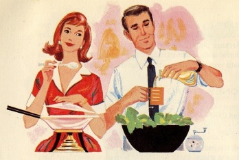 Nothing says happy couple like a date-night in, cooking together...