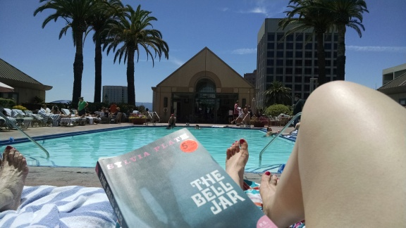 My pool-side view in Silicon Valley. A little 20th century feminist lit didn't make light reading